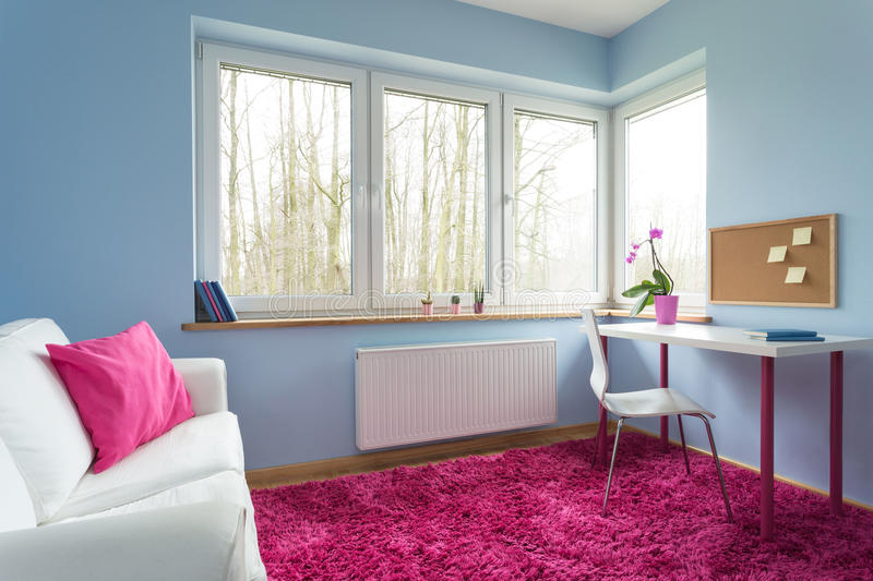 White and pink room stock photos