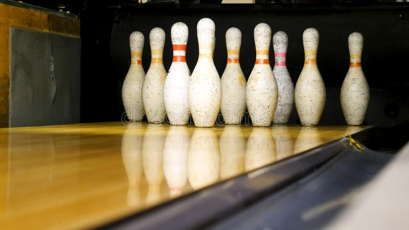 White pins are on the bowling line. Media. Bowling pins are in a row for the game.  stock photo