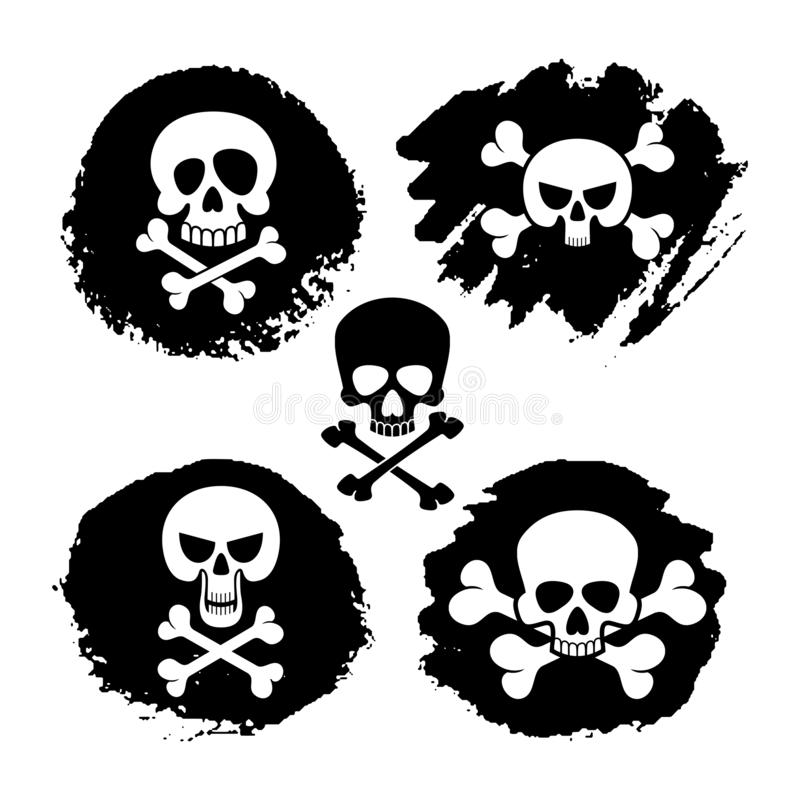 White piracy skull and crossbones vector icons. Death, scary symbols and grunge decor illustration vector illustration