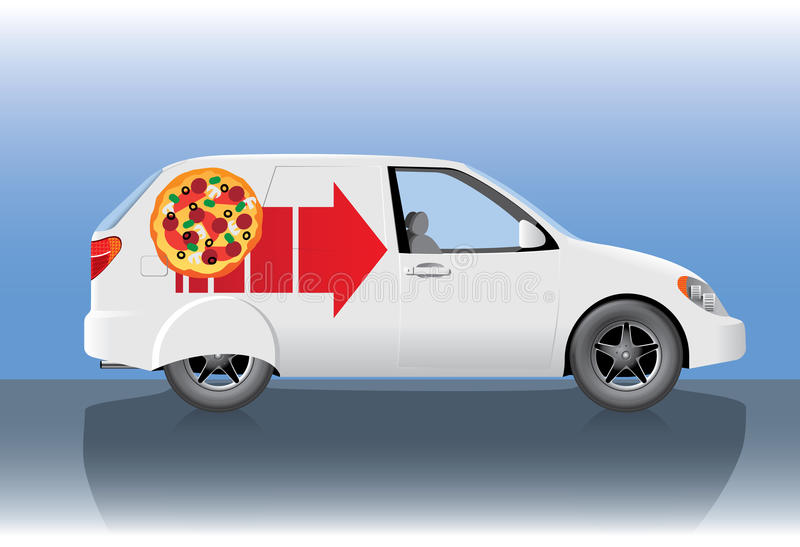 White pizza delivery car. White delivery car with pizza and arrow stock illustration