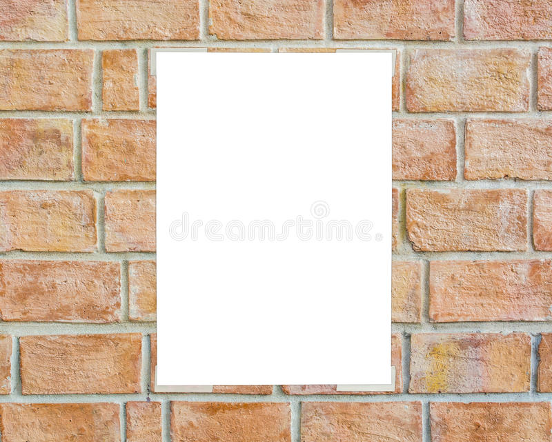 White placard taped on the wall stock photos