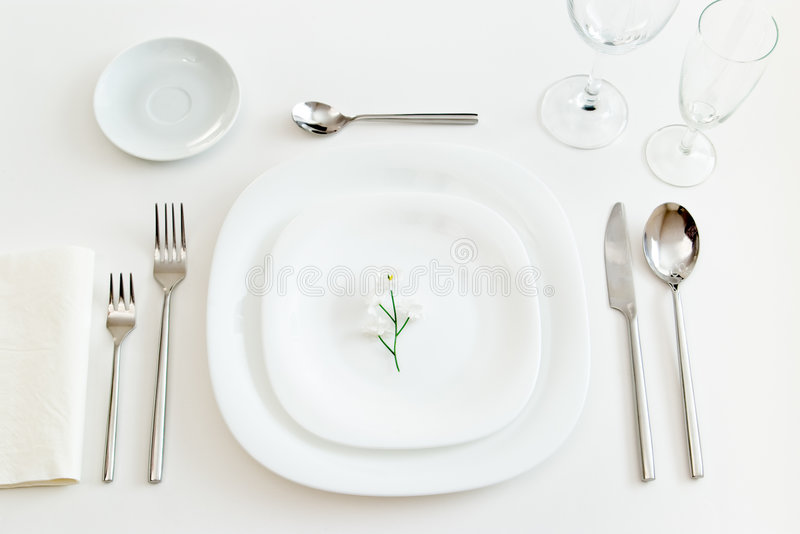 White place setting royalty free stock image