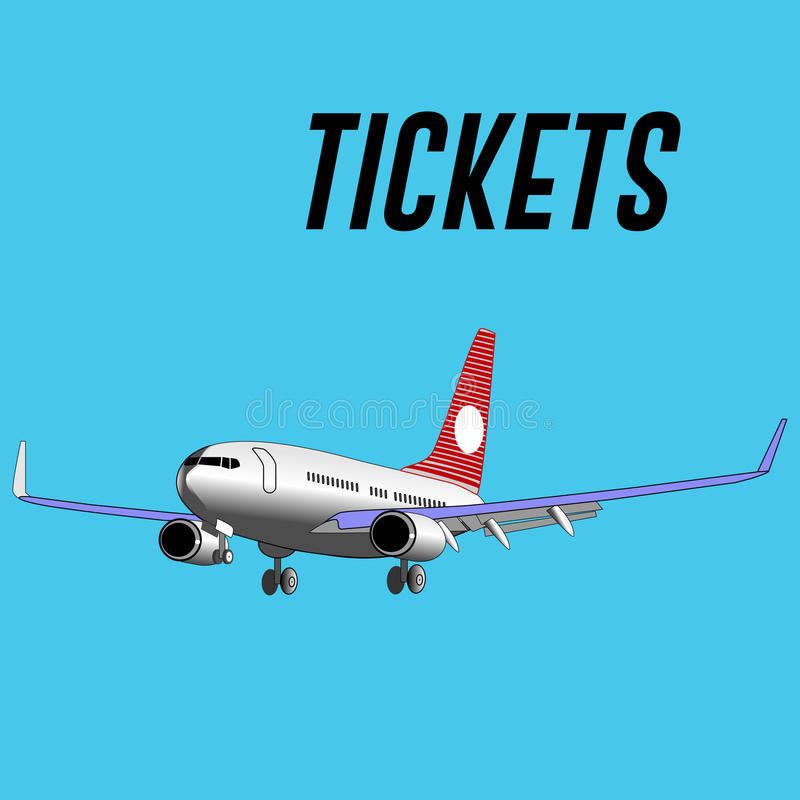White plane and inscription tickets. stock photos