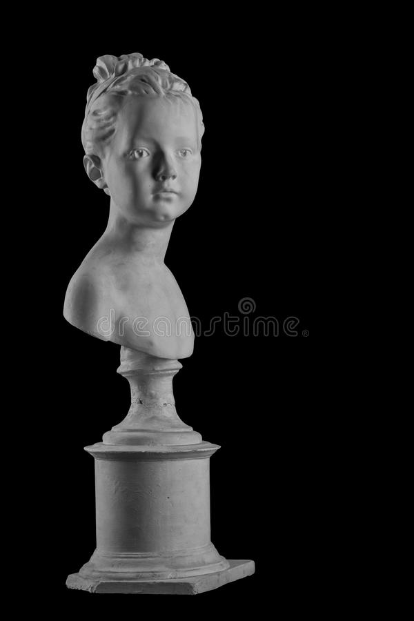 Plaster figure of a bust of the girl portrait of Louise. White plaster bust, gypsum sculpture portrait figure of a bust of the girl portrait of Louise stock photo