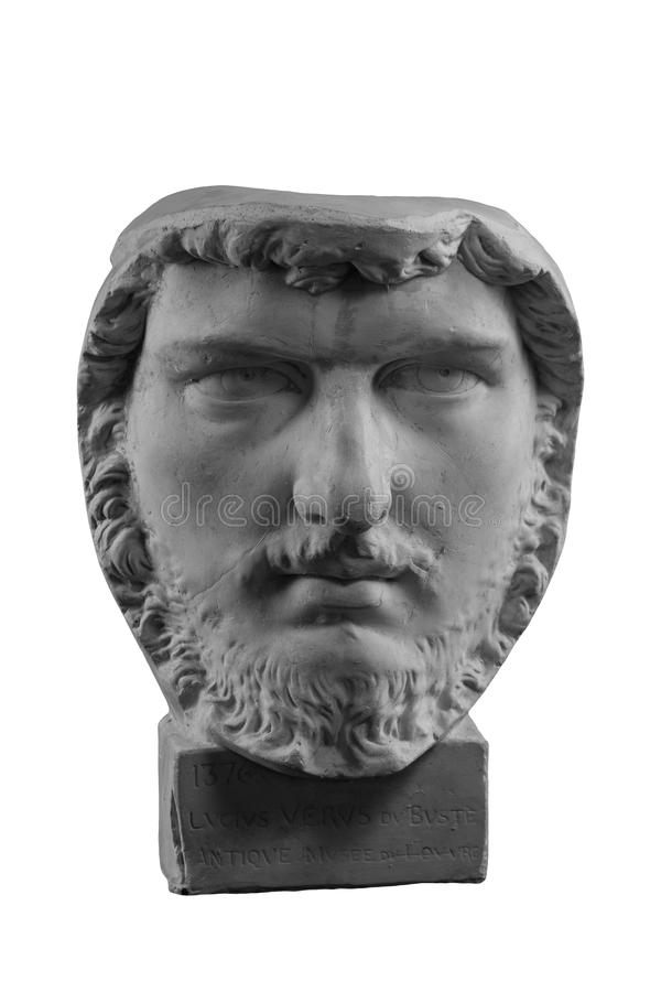 White plaster bust, sculptural portrait of Lucius Verus. White plaster bust, gypsum sculptural portrait man of Lucius Verus stock photos