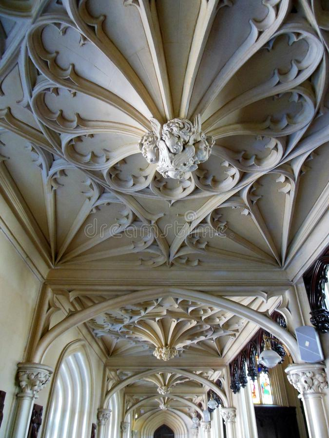 Cherubs Chapel Royal Dublin. White plaster cherubs look down from the intricately decorated ceiling of the Chapel Royal located on the grounds of Dublin Castle royalty free stock photo