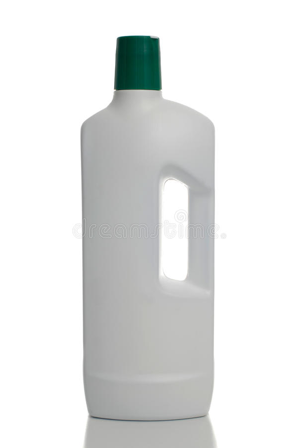 White plastic bottle green cap. Isolated on white with clipping paths stock image