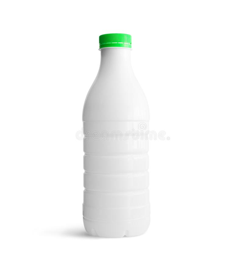 White plastic bottle with green cap. Isolated on white background. With clipping path stock photo