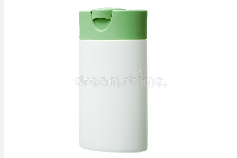 White plastic bottle with green cover isolated. White plastic bottle with green cover isolated on a white background, container for cosmetic and hygienic means royalty free stock images