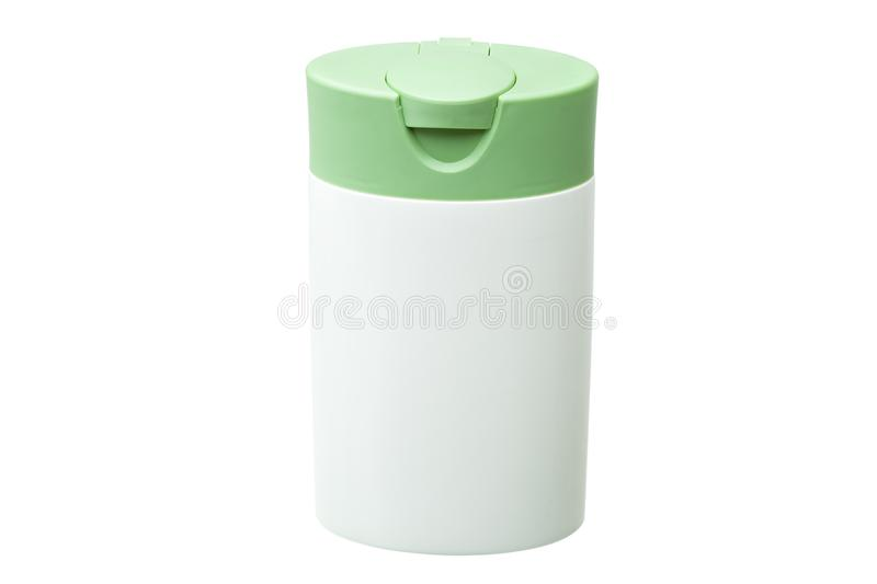 White plastic bottle with green cover isolated. White plastic bottle with green cover isolated on a white background, container for cosmetic and hygienic means stock images