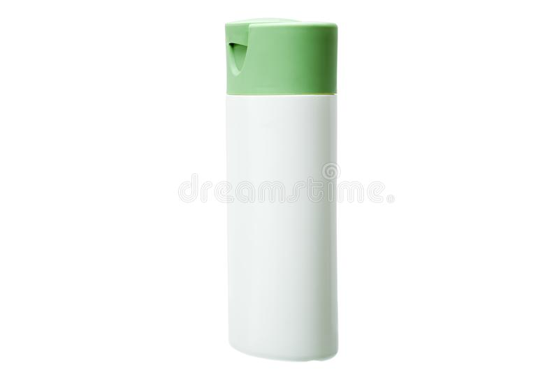 White plastic bottle with green cover isolated. White plastic bottle with green cover isolated on a white background, container for cosmetic and hygienic means stock photos