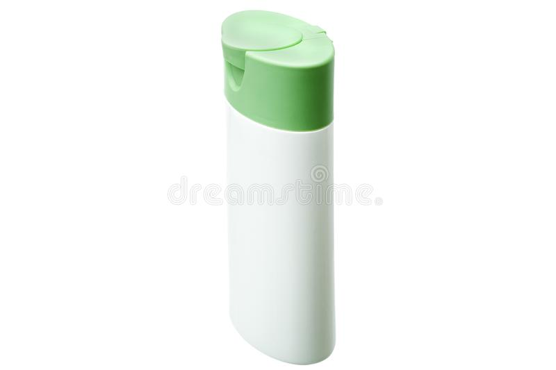 White plastic bottle with green cover isolated. White plastic bottle with green cover isolated on a white background, container for cosmetic and hygienic means stock photography