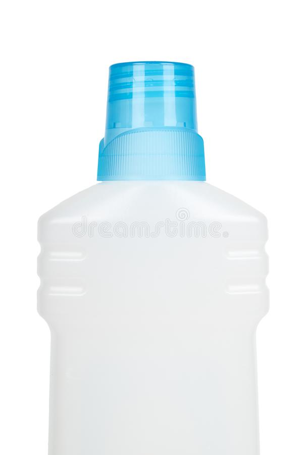 White plastic bottle for liquid detergent or cleaning agent or bleach. Isolated on white background. Half of bottle. Blue cap royalty free stock photos