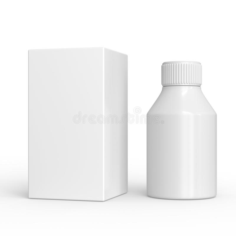 White plastic bottle and package isolated. pharmacy or cosmetic mockup. pills box. stock illustration