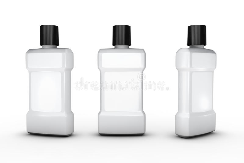 White Plastic Bottle With White Blank Label Clipping Path Inclu
