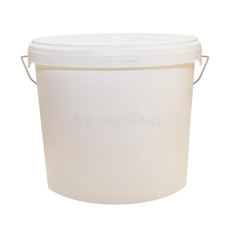 White plastic bucket for food products, paint. 900 ml, 5 kg. The selected path. Packaging mockup template. Front view, handle up. White plastic bucket for food royalty free stock photos