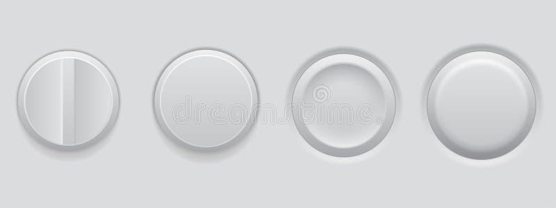 White plastic buttons. 3d web interface elements. Vector illustration stock illustration