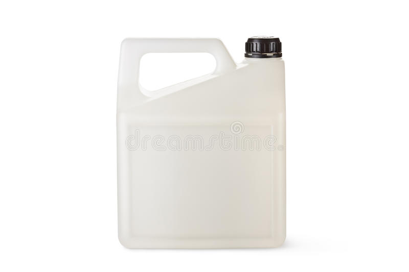 White plastic canister for household chemicals stock images