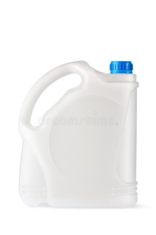 White plastic canister for household chemicals royalty free stock image