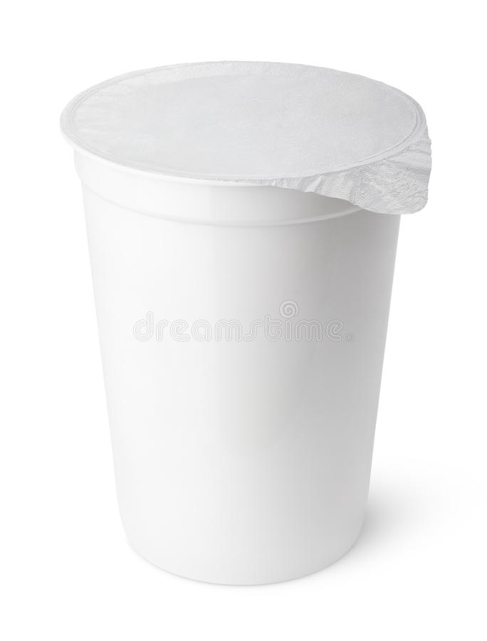 White plastic container for dairy foods with foil lid royalty free stock images