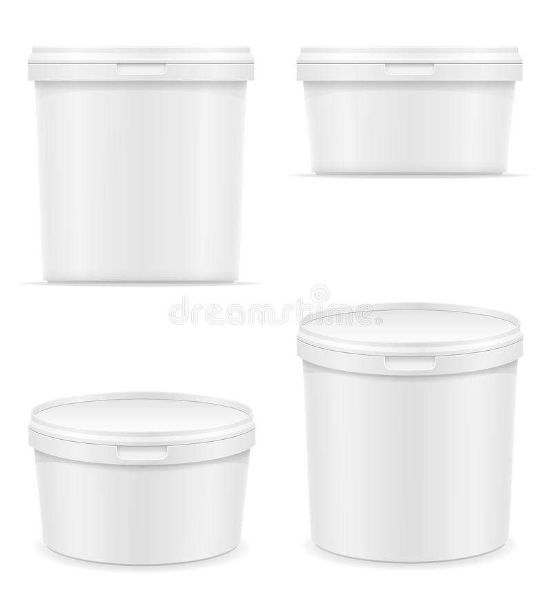 white plastic container for ice cream or dessert vector illustration royalty free illustration