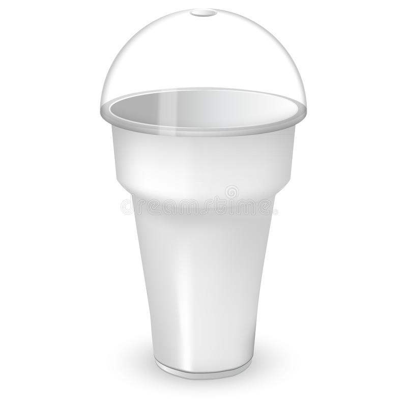 White plastic cup with sphere dome cap. Mock up of the container with a lid. For milkshake and ice cream and smoothie or coffee. stock illustration