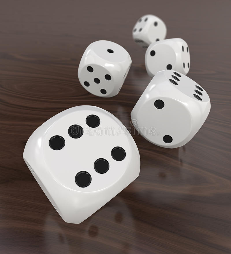 White plastic dice on table royalty free illustration