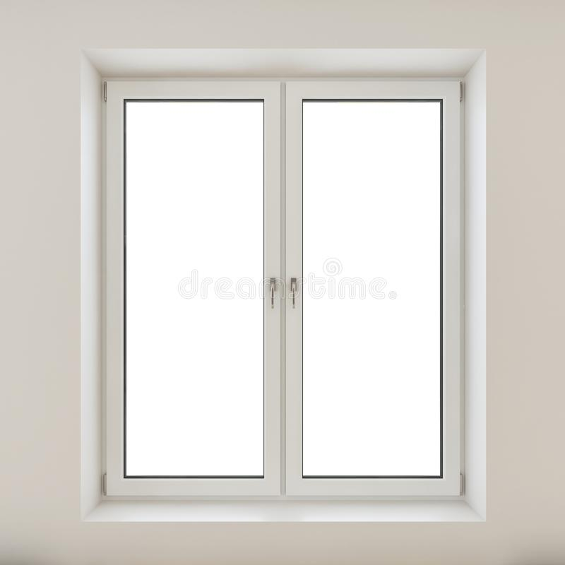 White plastic double door window isolated on white wall vector illustration