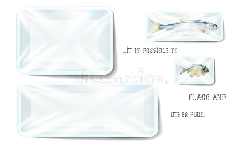 White plastic food container wrapped by polyethylene. Vector Rectangle Blank Styrofoam tray mock Up, Template for your design. For stock illustration