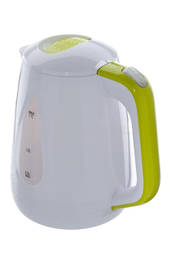 White plastic kettle on white background. White color plastic isolated cordless electrical kettle with green plastic elements on white background royalty free stock photo