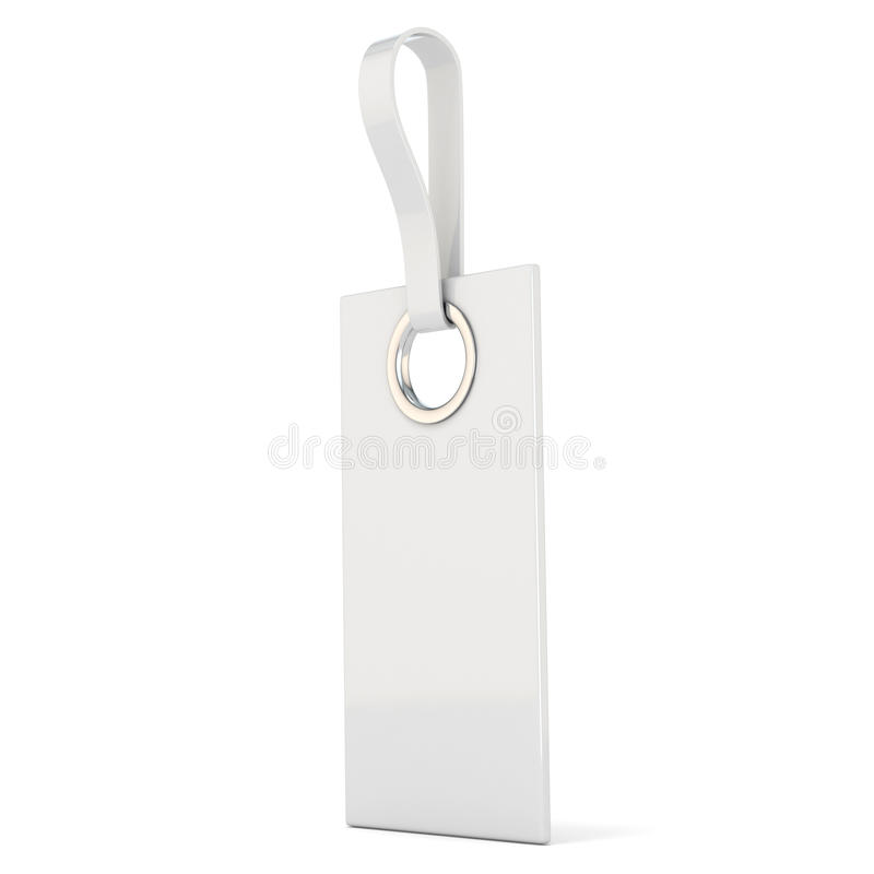 White plastic label. Vertical. 3D. Render illustration on white background vector illustration