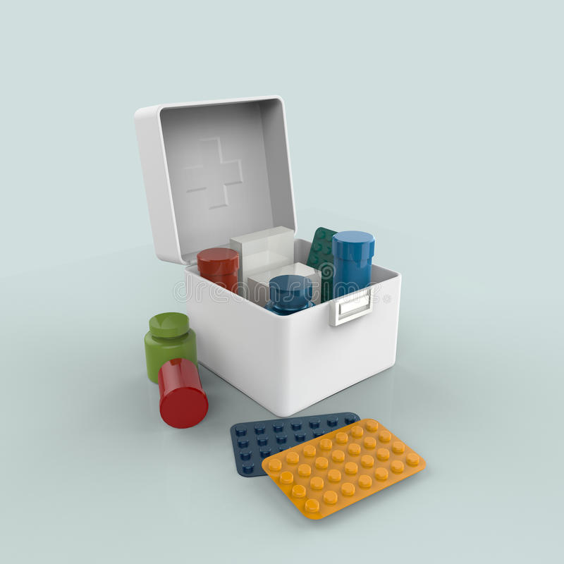 White plastic medicine box with pills royalty free illustration