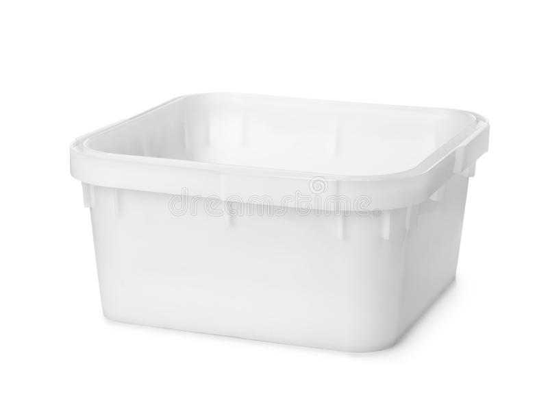 White plastic nest storage bin. Isolated on white royalty free stock photo