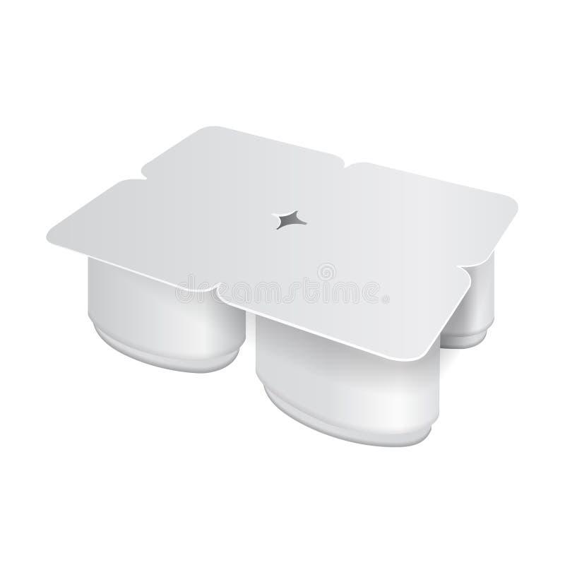 White plastic pack for yogurt, cream, dessert or jam. Oval form. Pack of four. Vector realistic packaging mockup. Template for your design stock illustration