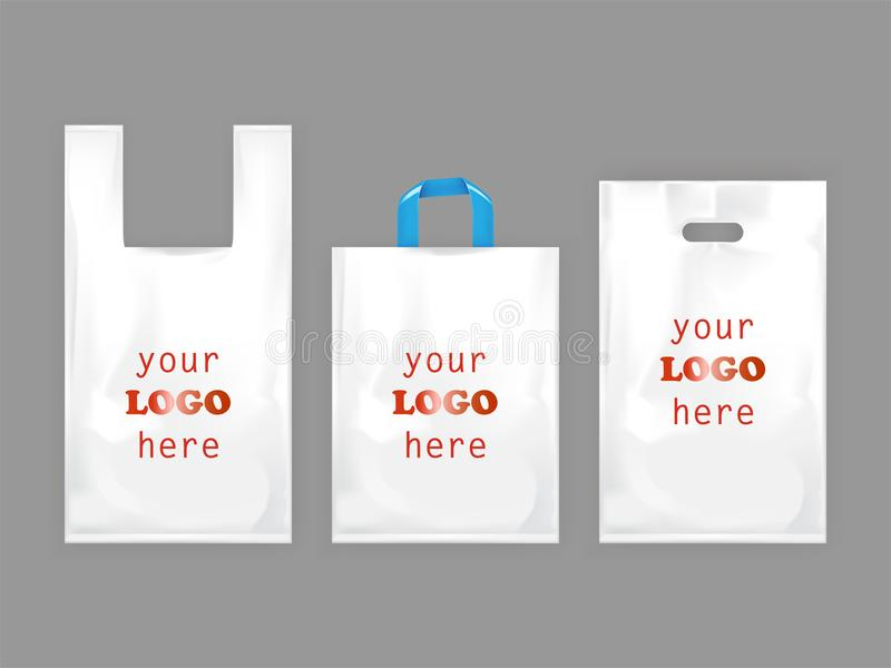 White plastic shopping bags vector illustration