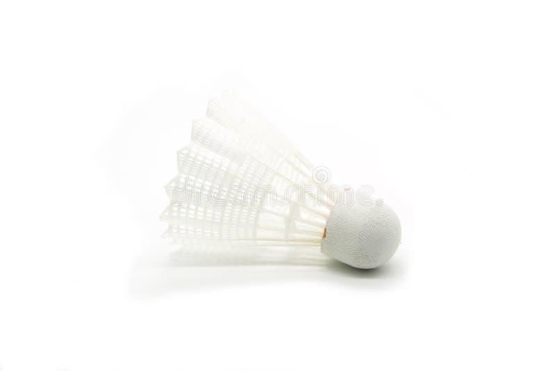 White plastic shuttlecock isolated on white background.  stock photography