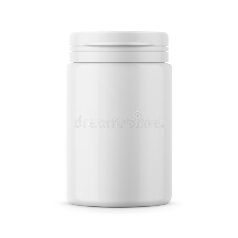 White plastic tablet bottle template. vector illustration