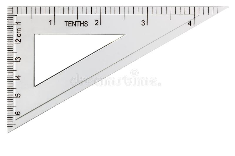White plastic transparent triangle, isolated on white background.  royalty free stock images