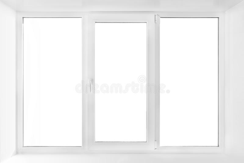 White plastic triple door window isolated on white background. royalty free stock images
