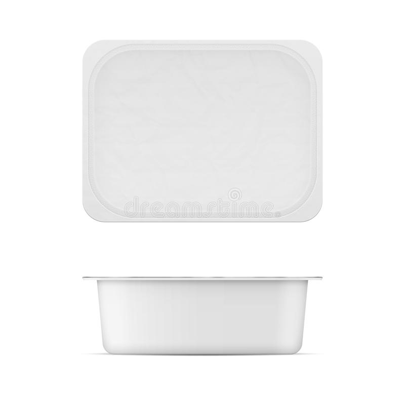White plastic tub template for dairy products. Rectangular white matt plastic tub with foil lid for dairy products. Cream cheese, butter, margarine, spread stock illustration