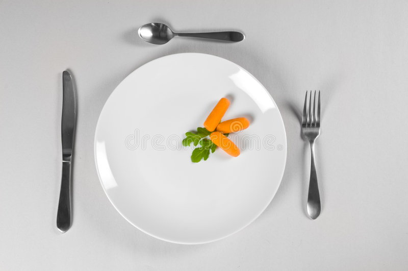 White Plate and Diet. With nutrition and hunger royalty free stock photography