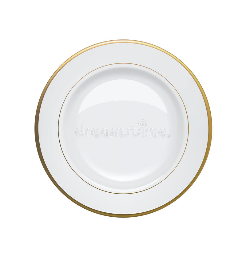 White plate with gold rims on white background. Vector illustration royalty free illustration