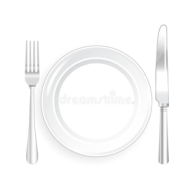 White Plate and Knife and Fork with on White Background vector illustration