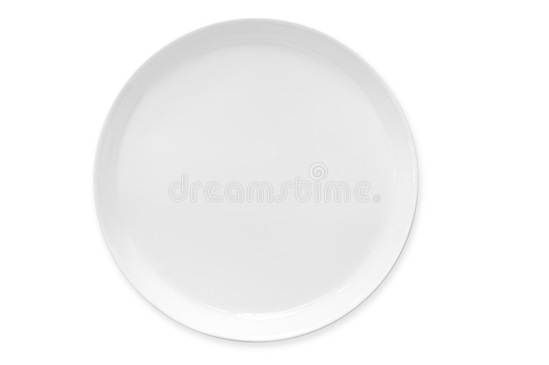White Plate (with Path). White dinner plate, isolated on white. Clipping path included. Vertical perspective royalty free stock image