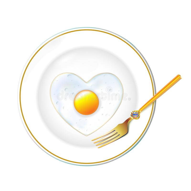 White Plate, realistic gold tablewares, Fried egg in shape heart to Valentines day. Isolated in light background. Food ads use for stock illustration