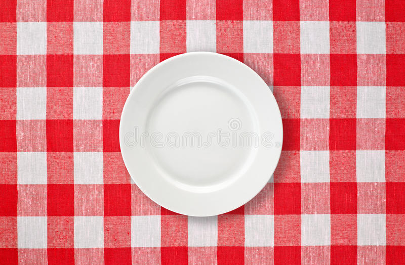 Download White Plate On Red Checked Tablecloth Stock Image - Image: 16893131