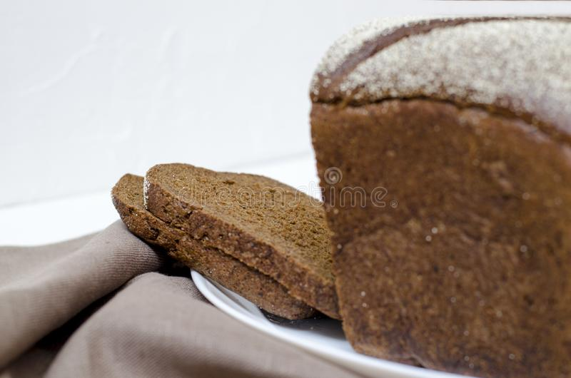 Rye bread on a white background royalty free stock images