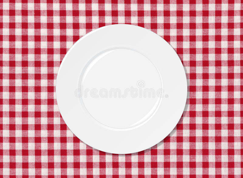 Download White plate on tablecloth stock illustration. Image of cloth - 26945447