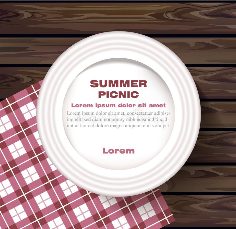 White plate on wooden table Summer picnic concept Vector. Illustration royalty free illustration