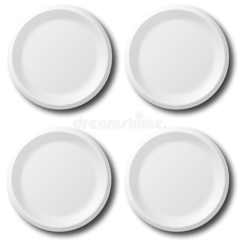 White plates. A set of four white plates on white background royalty free illustration